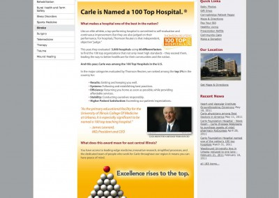 Carle 100 Top Hospital Landing Page