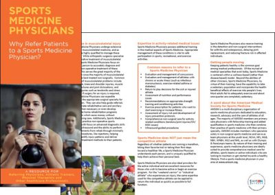 A Resource for Referring Physicians, Athletic Trainers, Physical Therapists and Other Healthcare Professionals